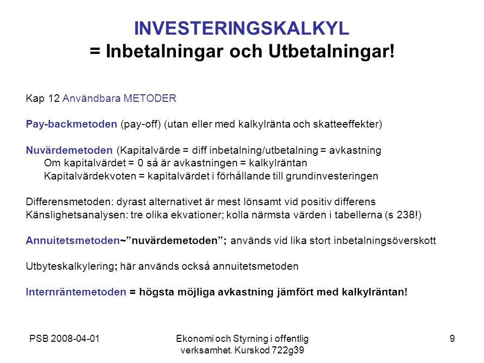 PSB 2008-04-01Ekonomi och Styrning i offentlig verksamhet. Kurskod 722g39 9 INVESTERINGSKALKYL = Inbetalningar och Utbetalningar! Kap 12 Användbara ME