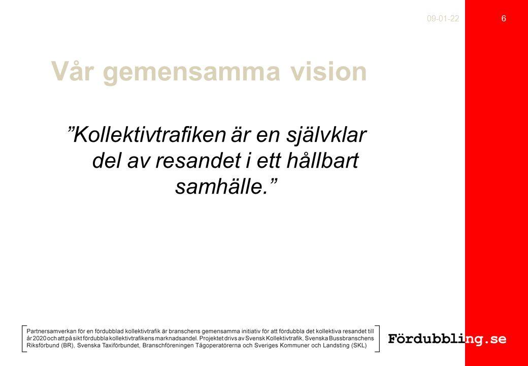 Vår gemensamma vision Kollektivtrafiken är en självklar del av resandet i ett hållbart samhälle. 6 09-01-22