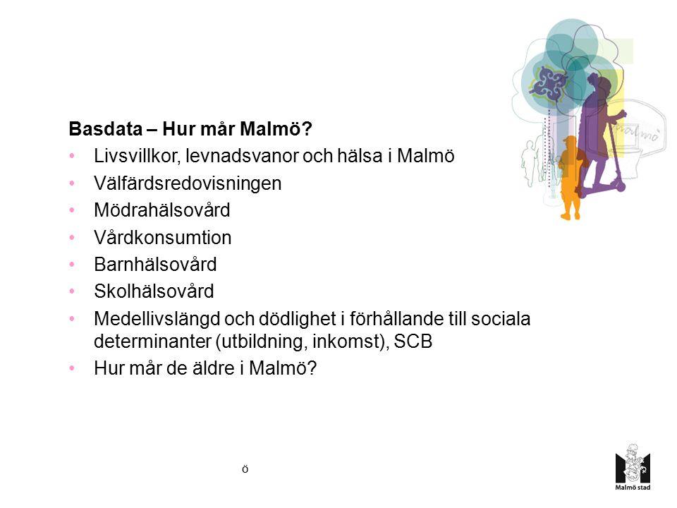Kommission för ett socialt hållbart Malmö Basdata – Hur mår Malmö? Livsvillkor, levnadsvanor och hälsa i Malmö Välfärdsredovisningen Mödrahälsovård Vå
