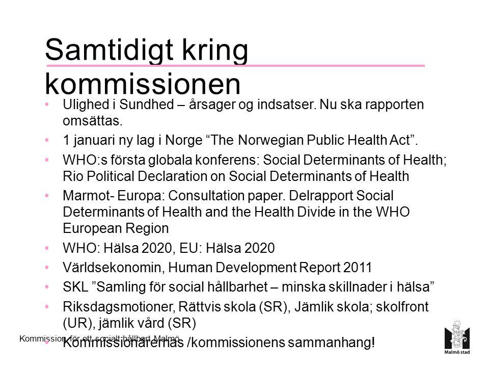 Kommission för ett socialt hållbart Malmö Samtidigt kring kommissionen Ulighed i Sundhed – årsager og indsatser.