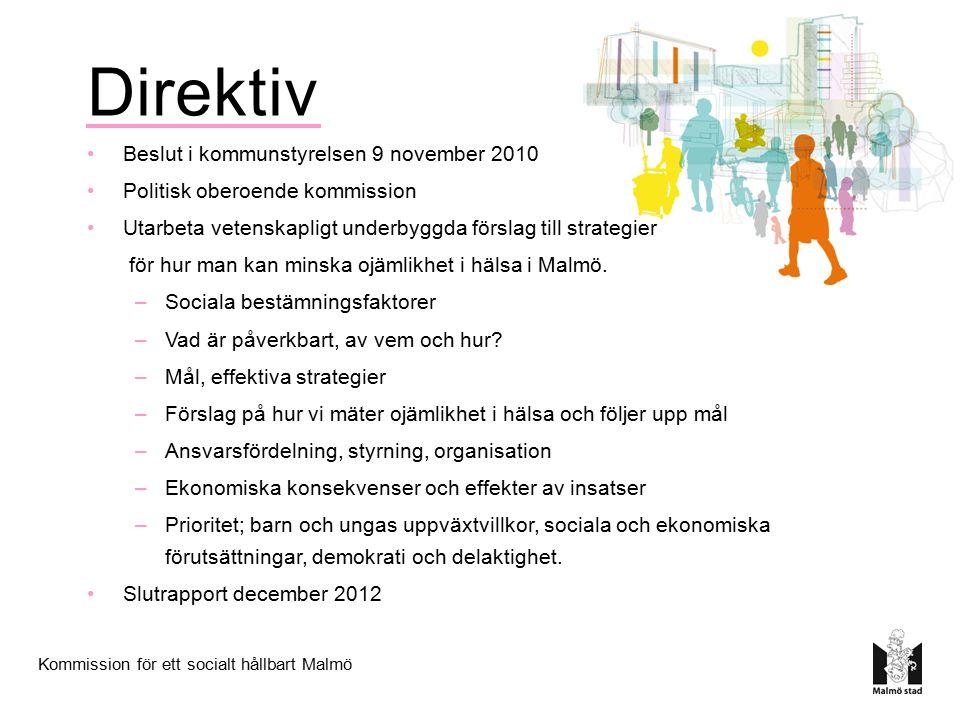 Kommission för ett socialt hållbart Malmö Direktiv Beslut i kommunstyrelsen 9 november 2010 Politisk oberoende kommission Utarbeta vetenskapligt under