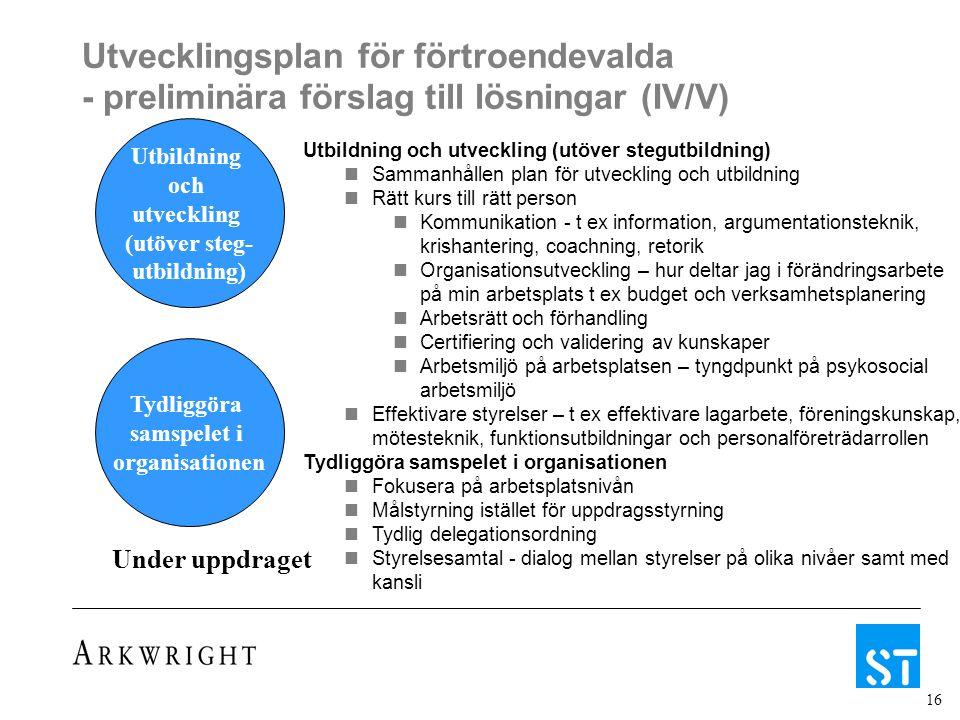 16 Utvecklingsplan för förtroendevalda - preliminära förslag till lösningar (IV/V) Under uppdraget Utbildning och utveckling (utöver steg- utbildning) Tydliggöra samspelet i organisationen Utbildning och utveckling (utöver stegutbildning) Sammanhållen plan för utveckling och utbildning Rätt kurs till rätt person Kommunikation - t ex information, argumentationsteknik, krishantering, coachning, retorik Organisationsutveckling – hur deltar jag i förändringsarbete på min arbetsplats t ex budget och verksamhetsplanering Arbetsrätt och förhandling Certifiering och validering av kunskaper Arbetsmiljö på arbetsplatsen – tyngdpunkt på psykosocial arbetsmiljö Effektivare styrelser – t ex effektivare lagarbete, föreningskunskap, mötesteknik, funktionsutbildningar och personalföreträdarrollen Tydliggöra samspelet i organisationen Fokusera på arbetsplatsnivån Målstyrning istället för uppdragsstyrning Tydlig delegationsordning Styrelsesamtal - dialog mellan styrelser på olika nivåer samt med kansli