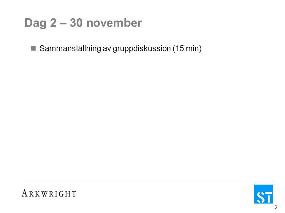 3 Dag 2 – 30 november Sammanställning av gruppdiskussion (15 min)