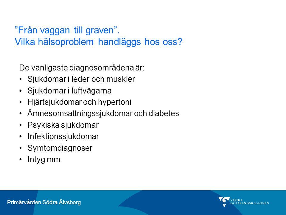 """Primärvården Södra Älvsborg """"Från vaggan till graven"""". Vilka hälsoproblem handläggs hos oss? De vanligaste diagnosområdena är: Sjukdomar i leder och m"""