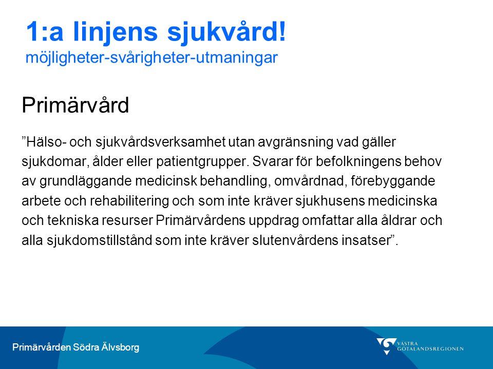 Primärvården Södra Älvsborg …svårigheter och utmaningar bristen på distriktsläkare tillgänglighet - hitta balans mellan efterfrågan och tillgång hitta bra kvalitetsindikatorer som styr vården i rätt riktning målstyrning Gränssnitt mellan primärvård och länssjukvård