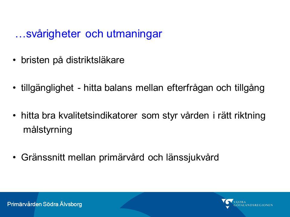 Primärvården Södra Älvsborg …svårigheter och utmaningar bristen på distriktsläkare tillgänglighet - hitta balans mellan efterfrågan och tillgång hitta
