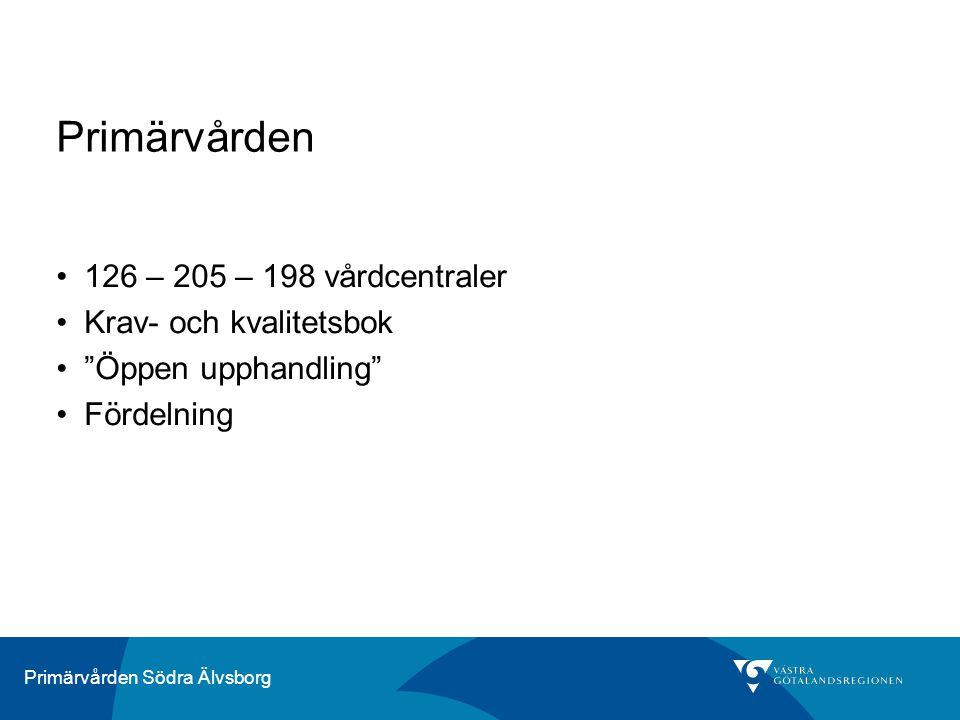 Primärvården Södra Älvsborg Primärvården - ersättningsmodell Ålder / kön ACG – vårdtyngd Målrelaterad ersättning Geografi avstånd till närmsta sjukhus Målrelaterad ersättning Socioekonomi Täckningsgrad Tolk Särskilda ersättningar