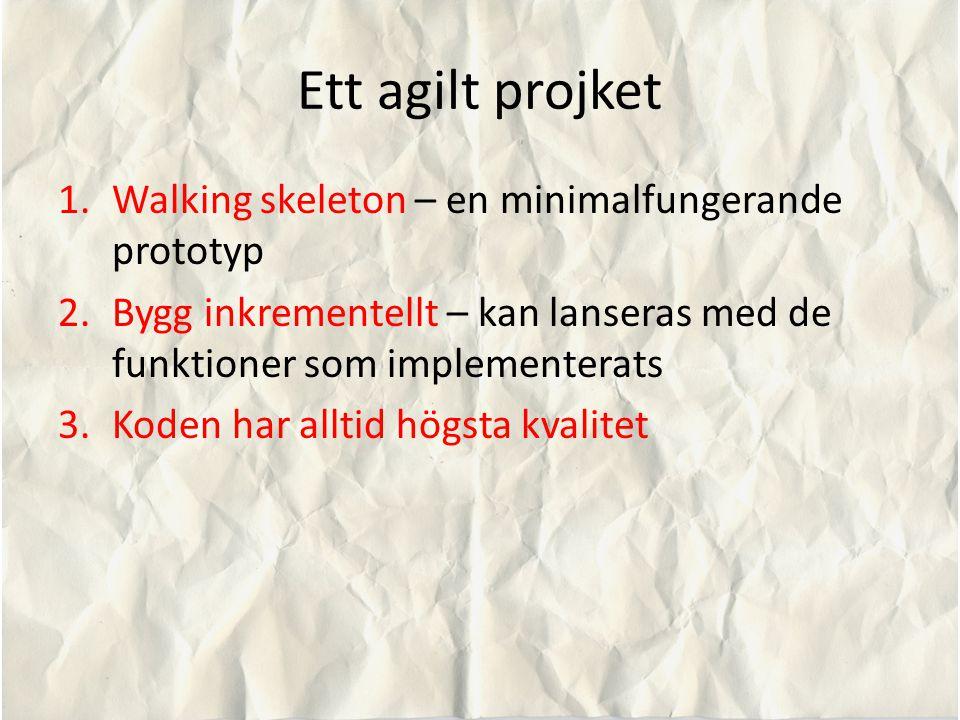Ett agilt projket 1.Walking skeleton – en minimalfungerande prototyp 2.Bygg inkrementellt – kan lanseras med de funktioner som implementerats 3.Koden har alltid högsta kvalitet