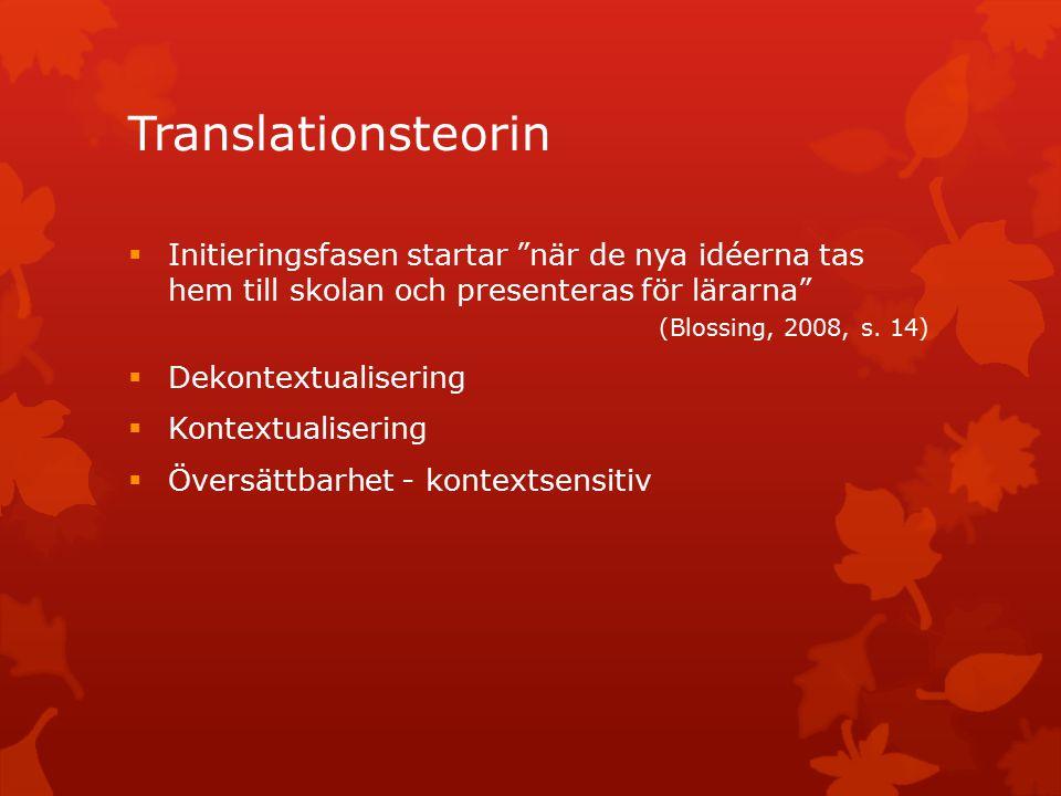 Translationsteorin  Initieringsfasen startar när de nya idéerna tas hem till skolan och presenteras för lärarna (Blossing, 2008, s.