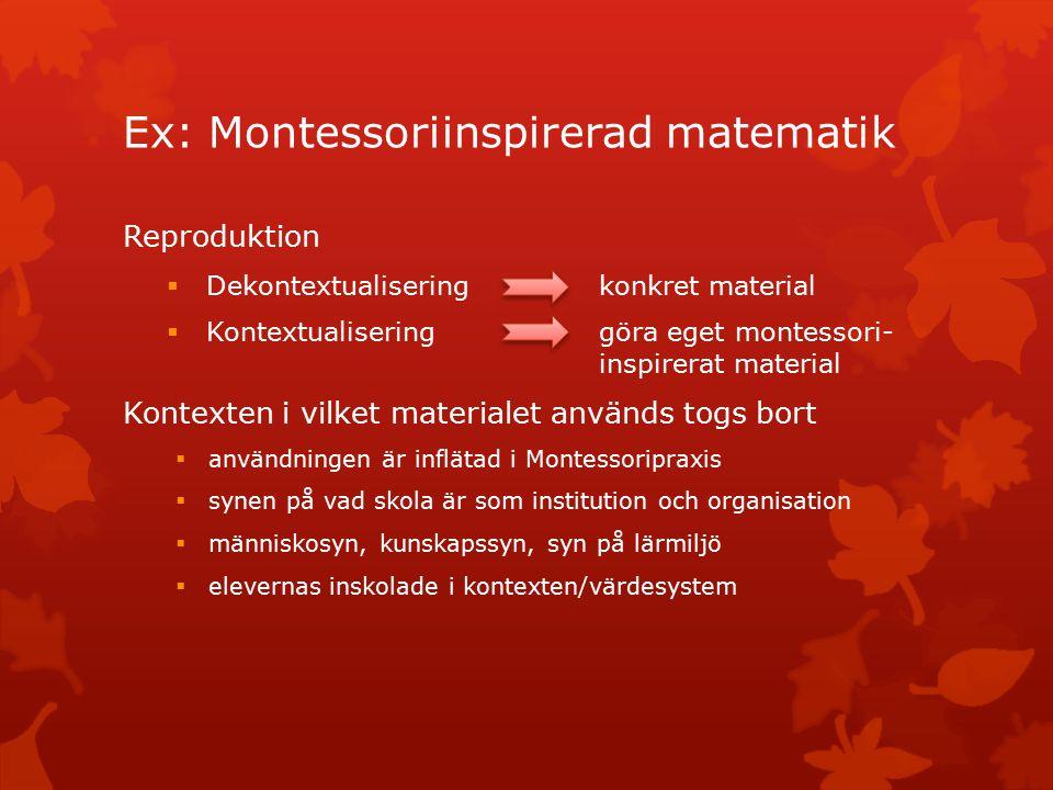 Ex: Montessoriinspirerad matematik Reproduktion  Dekontextualisering konkret material  Kontextualisering göra eget montessori- inspirerat material Kontexten i vilket materialet används togs bort  användningen är inflätad i Montessoripraxis  synen på vad skola är som institution och organisation  människosyn, kunskapssyn, syn på lärmiljö  elevernas inskolade i kontexten/värdesystem