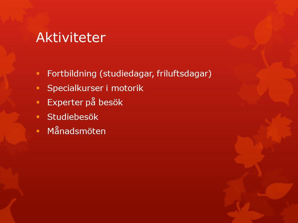 Aktiviteter  Fortbildning (studiedagar, friluftsdagar)  Specialkurser i motorik  Experter på besök  Studiebesök  Månadsmöten