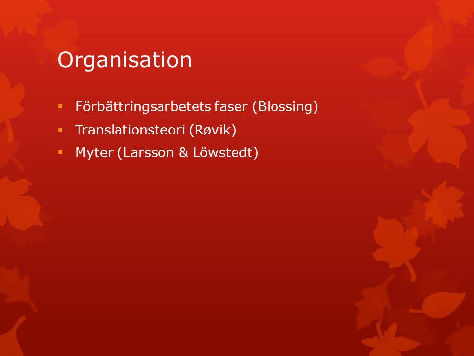 Organisation  Förbättringsarbetets faser (Blossing)  Translationsteori (Røvik)  Myter (Larsson & Löwstedt)