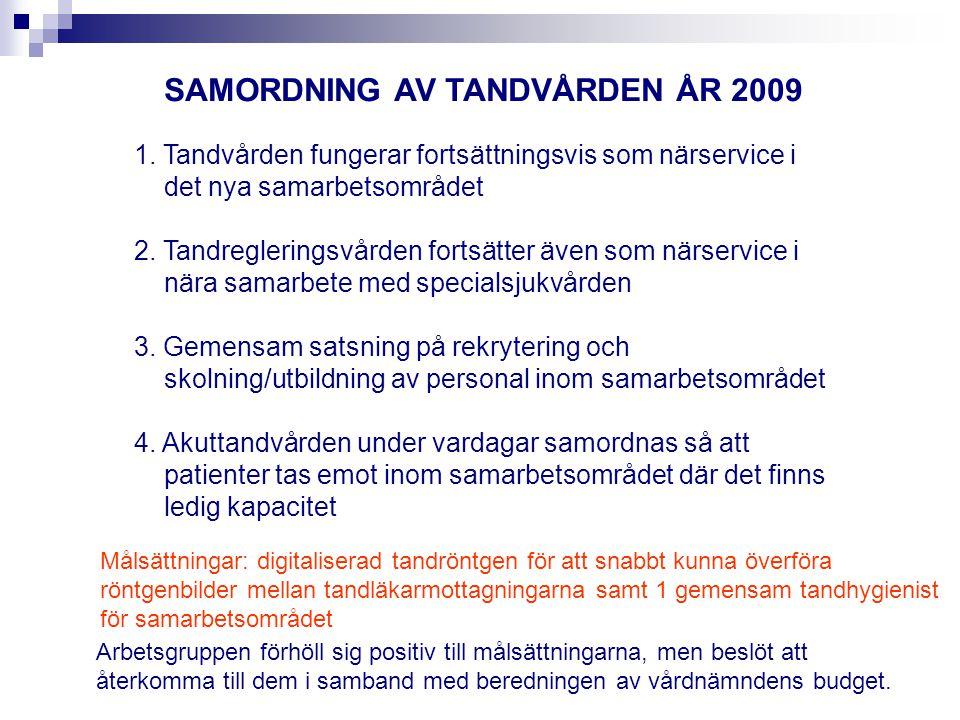 SAMORDNING AV TANDVÅRDEN ÅR 2009 1.