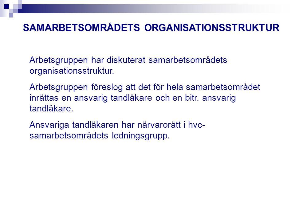 SAMARBETSOMRÅDETS ORGANISATIONSSTRUKTUR Arbetsgruppen har diskuterat samarbetsområdets organisationsstruktur.