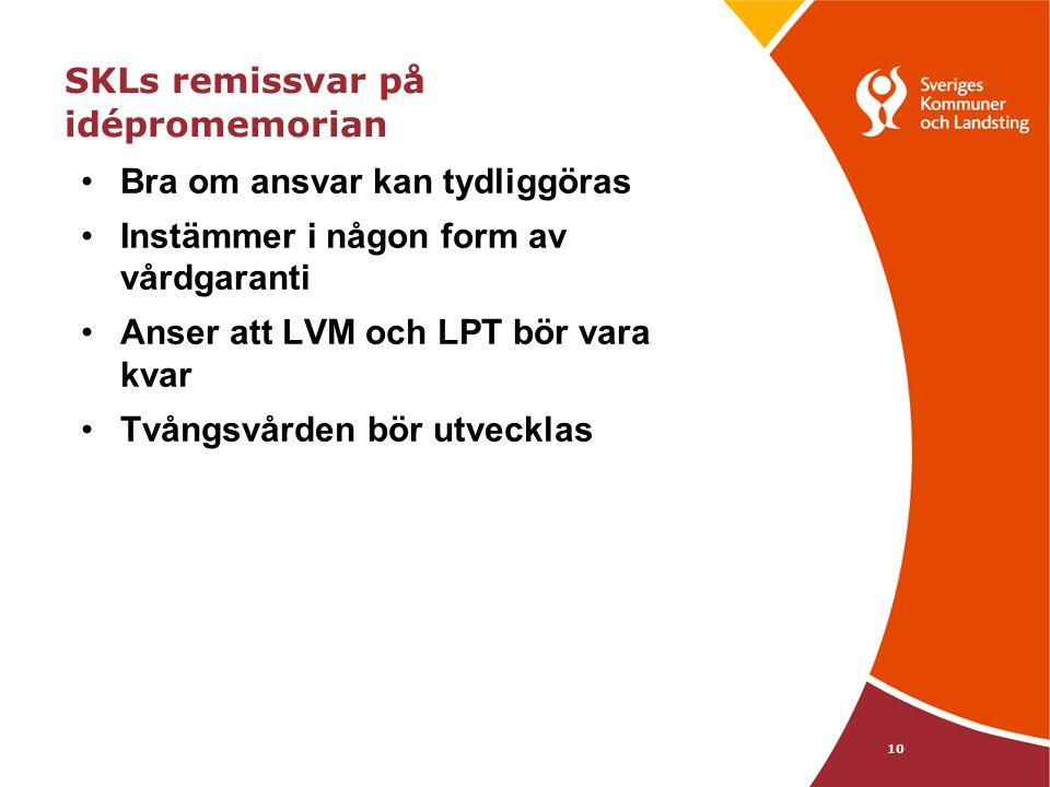 10 SKLs remissvar på idépromemorian Bra om ansvar kan tydliggöras Instämmer i någon form av vårdgaranti Anser att LVM och LPT bör vara kvar Tvångsvården bör utvecklas * Green m.fl (2006) er