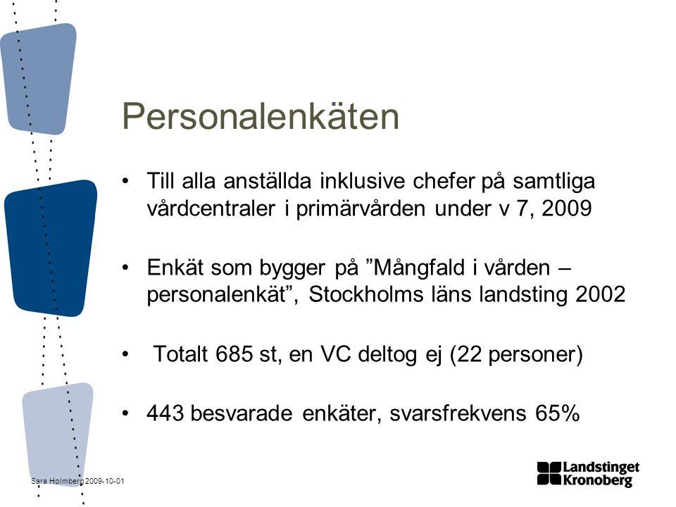 Sara Holmberg 2009-10-01 Personalenkäten Till alla anställda inklusive chefer på samtliga vårdcentraler i primärvården under v 7, 2009 Enkät som bygge