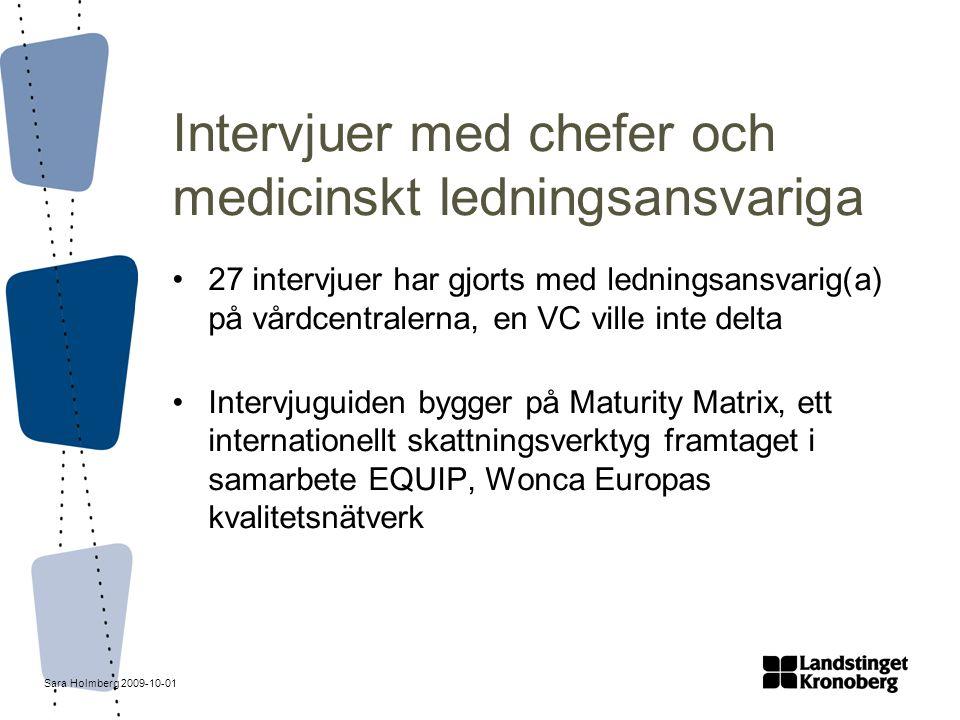 Sara Holmberg 2009-10-01 Intervjuer med chefer och medicinskt ledningsansvariga 27 intervjuer har gjorts med ledningsansvarig(a) på vårdcentralerna, e