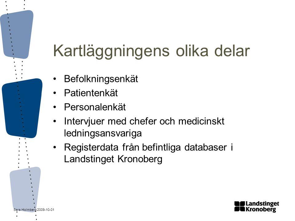 Sara Holmberg 2009-10-01 Kartläggningens olika delar Befolkningsenkät Patientenkät Personalenkät Intervjuer med chefer och medicinskt ledningsansvarig