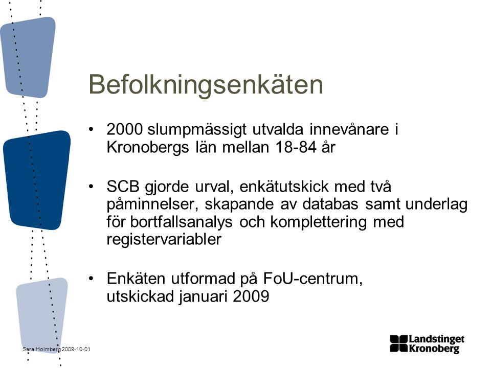 Sara Holmberg 2009-10-01 Befolkningsenkäten 2000 slumpmässigt utvalda innevånare i Kronobergs län mellan 18-84 år SCB gjorde urval, enkätutskick med t