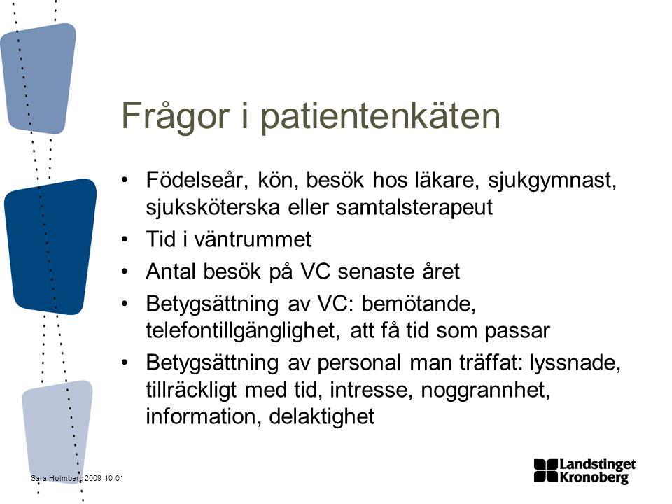 Sara Holmberg 2009-10-01 Frågor i patientenkäten Födelseår, kön, besök hos läkare, sjukgymnast, sjuksköterska eller samtalsterapeut Tid i väntrummet A