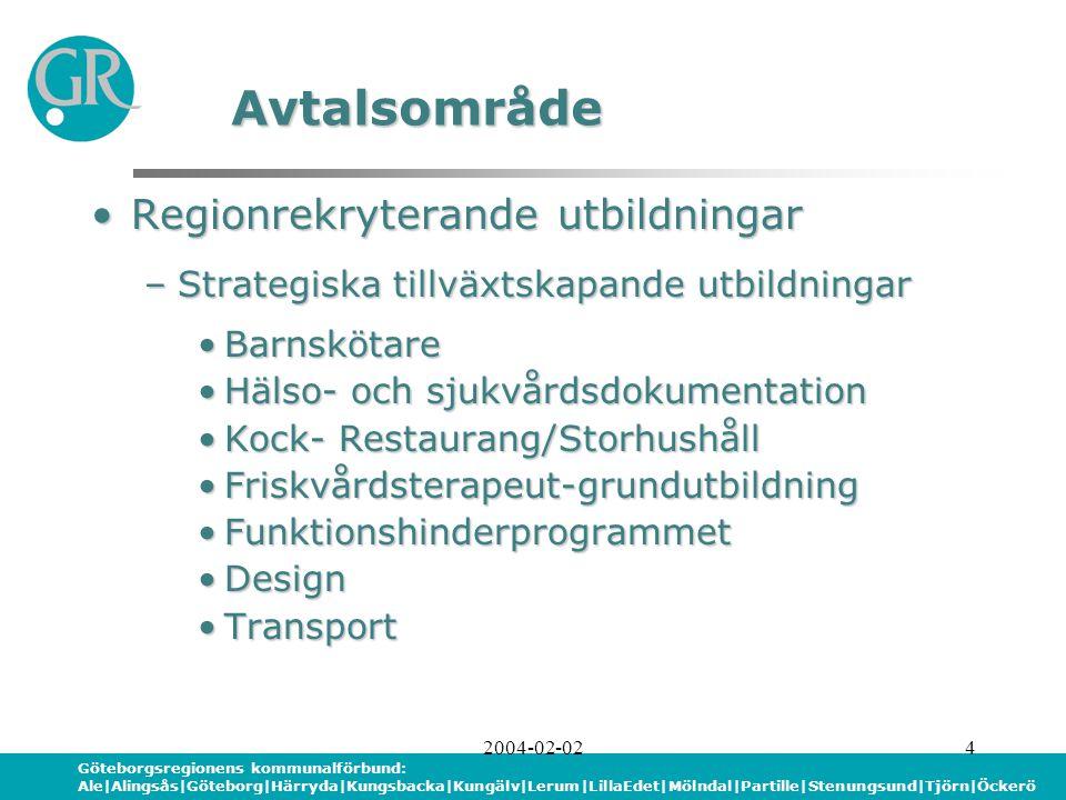 Göteborgsregionens kommunalförbund: Ale|Alingsås|Göteborg|Härryda|Kungsbacka|Kungälv|Lerum|LillaEdet|Mölndal|Partille|Stenungsund|Tjörn|Öckerö 2004-02-024 Regionrekryterande utbildningarRegionrekryterande utbildningar –Strategiska tillväxtskapande utbildningar BarnskötareBarnskötare Hälso- och sjukvårdsdokumentationHälso- och sjukvårdsdokumentation Kock- Restaurang/StorhushållKock- Restaurang/Storhushåll Friskvårdsterapeut-grundutbildningFriskvårdsterapeut-grundutbildning FunktionshinderprogrammetFunktionshinderprogrammet DesignDesign TransportTransport Avtalsområde