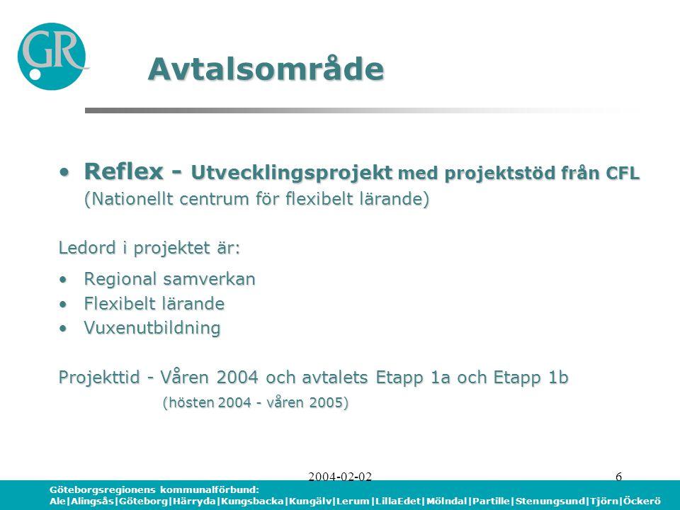 Göteborgsregionens kommunalförbund: Ale|Alingsås|Göteborg|Härryda|Kungsbacka|Kungälv|Lerum|LillaEdet|Mölndal|Partille|Stenungsund|Tjörn|Öckerö 2004-02-026 Reflex - Utvecklingsprojekt med projektstöd från CFLReflex - Utvecklingsprojekt med projektstöd från CFL (Nationellt centrum för flexibelt lärande) Ledord i projektet är: Regional samverkanRegional samverkan Flexibelt lärandeFlexibelt lärande VuxenutbildningVuxenutbildning Projekttid - Våren 2004 och avtalets Etapp 1a och Etapp 1b (hösten 2004 - våren 2005) (hösten 2004 - våren 2005) Avtalsområde