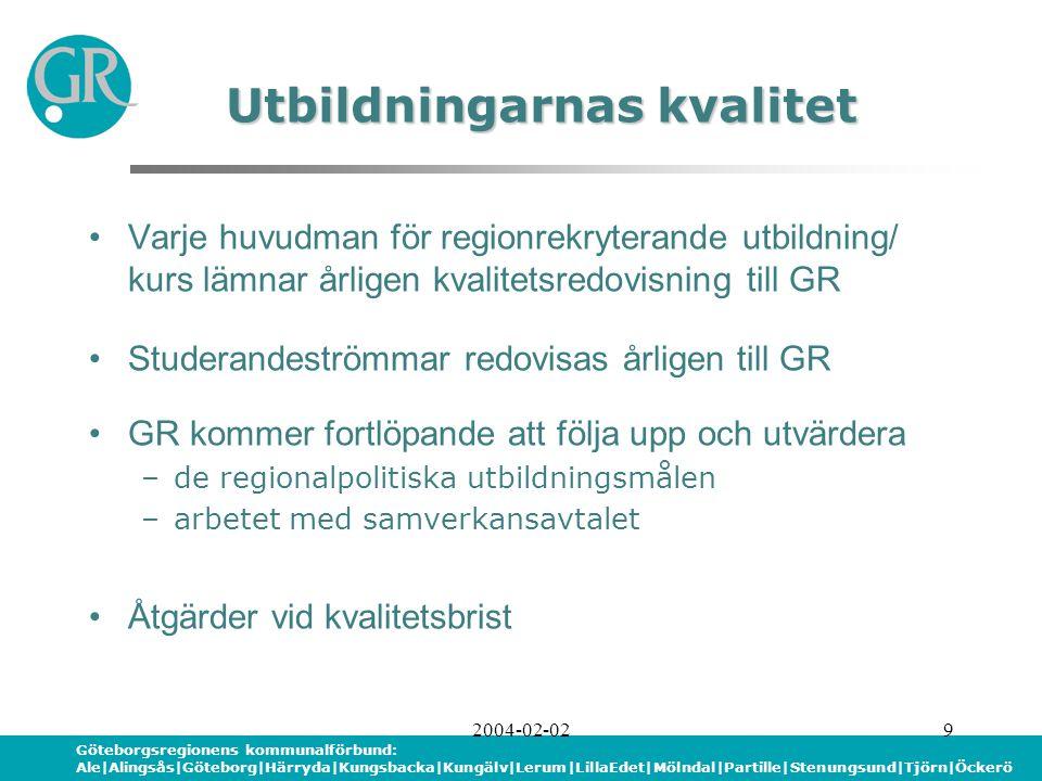 Göteborgsregionens kommunalförbund: Ale|Alingsås|Göteborg|Härryda|Kungsbacka|Kungälv|Lerum|LillaEdet|Mölndal|Partille|Stenungsund|Tjörn|Öckerö 2004-02-029 Varje huvudman för regionrekryterande utbildning/ kurs lämnar årligen kvalitetsredovisning till GR Studerandeströmmar redovisas årligen till GR GR kommer fortlöpande att följa upp och utvärdera –de regionalpolitiska utbildningsmålen –arbetet med samverkansavtalet Åtgärder vid kvalitetsbrist Utbildningarnas kvalitet