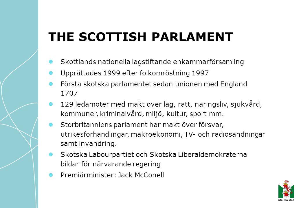 THE SCOTTISH PARLAMENT Skottlands nationella lagstiftande enkammarförsamling Upprättades 1999 efter folkomröstning 1997 Första skotska parlamentet sedan unionen med England 1707 129 ledamöter med makt över lag, rätt, näringsliv, sjukvård, kommuner, kriminalvård, miljö, kultur, sport mm.