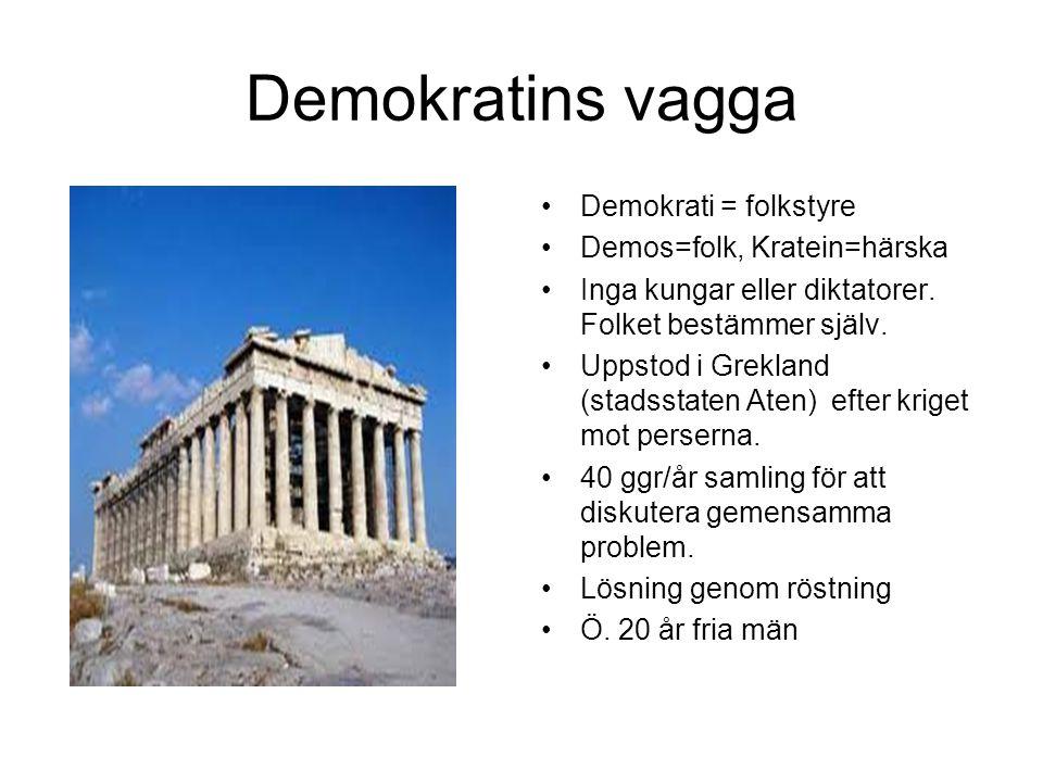 Demokratins vagga Demokrati = folkstyre Demos=folk, Kratein=härska Inga kungar eller diktatorer.