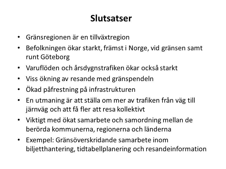 Slutsatser Gränsregionen är en tillväxtregion Befolkningen ökar starkt, främst i Norge, vid gränsen samt runt Göteborg Varuflöden och årsdygnstrafiken ökar också starkt Viss ökning av resande med gränspendeln Ökad påfrestning på infrastrukturen En utmaning är att ställa om mer av trafiken från väg till järnväg och att få fler att resa kollektivt Viktigt med ökat samarbete och samordning mellan de berörda kommunerna, regionerna och länderna Exempel: Gränsöverskridande samarbete inom biljetthantering, tidtabellplanering och resandeinformation