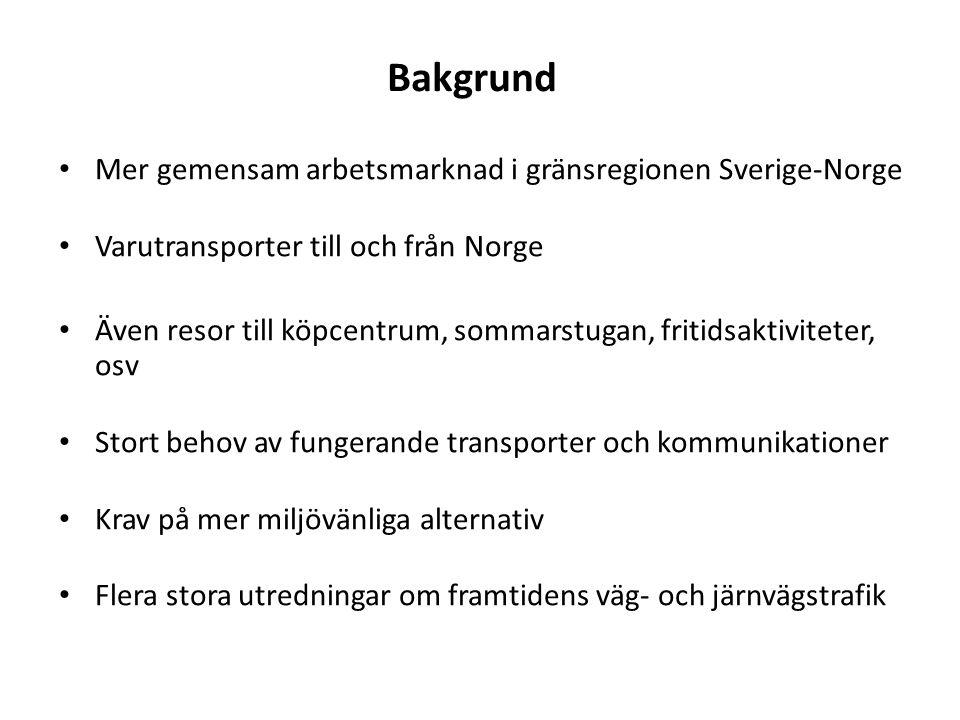 Bakgrund Mer gemensam arbetsmarknad i gränsregionen Sverige-Norge Varutransporter till och från Norge Även resor till köpcentrum, sommarstugan, fritidsaktiviteter, osv Stort behov av fungerande transporter och kommunikationer Krav på mer miljövänliga alternativ Flera stora utredningar om framtidens väg- och järnvägstrafik