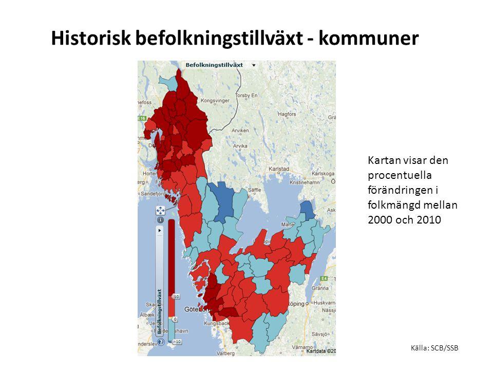 Historisk befolkningstillväxt - kommuner Källa: SCB/SSB Kartan visar den procentuella förändringen i folkmängd mellan 2000 och 2010