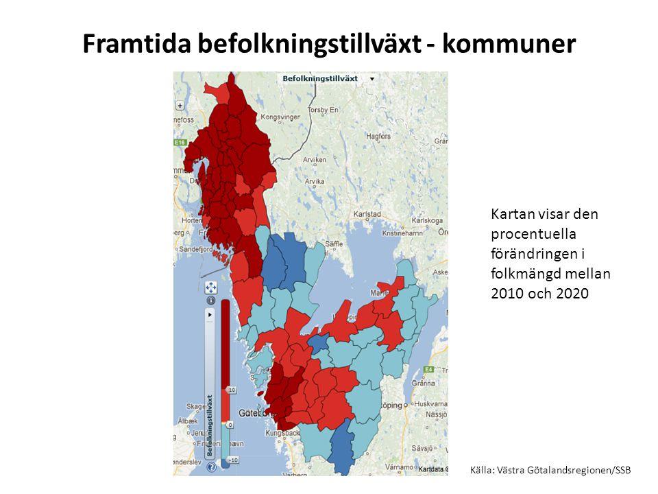 Framtida befolkningstillväxt - kommuner Källa: Västra Götalandsregionen/SSB Kartan visar den procentuella förändringen i folkmängd mellan 2010 och 2020