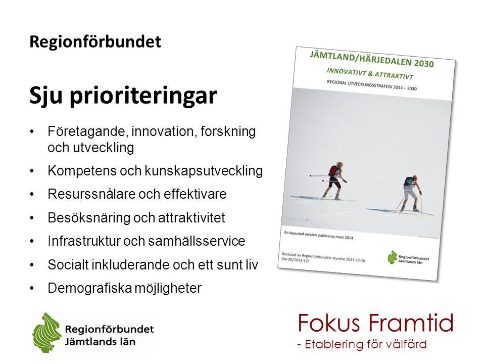 Regionförbundet Sju prioriteringar Företagande, innovation, forskning och utveckling Kompetens och kunskapsutveckling Resurssnålare och effektivare Be