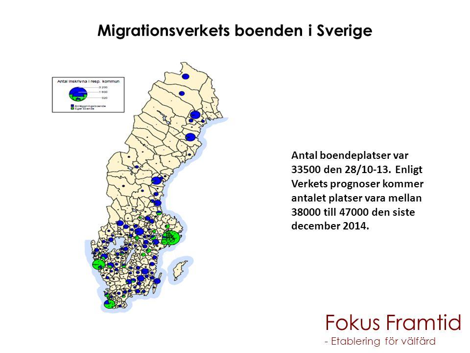 Migrationsverkets boenden i Sverige Antal boendeplatser var 33500 den 28/10-13. Enligt Verkets prognoser kommer antalet platser vara mellan 38000 till