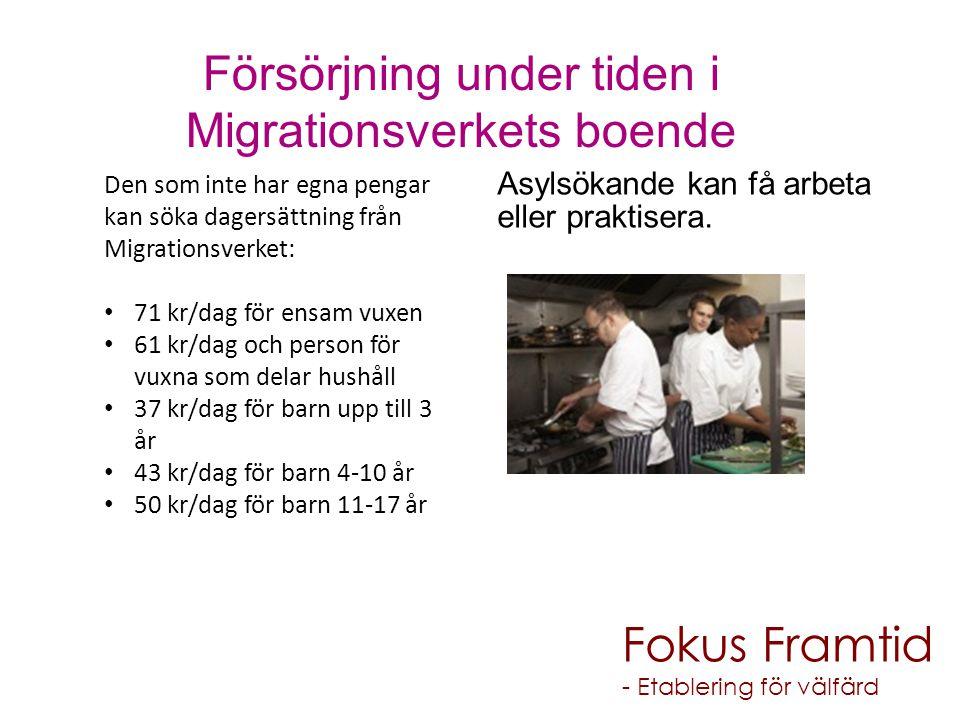 Den som inte har egna pengar kan söka dagersättning från Migrationsverket: 71 kr/dag för ensam vuxen 61 kr/dag och person för vuxna som delar hushåll