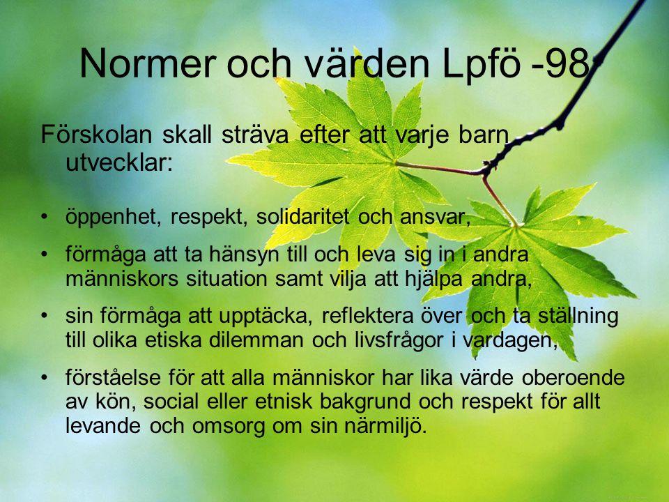 Normer och värden Lpfö -98 Förskolan skall sträva efter att varje barn utvecklar: öppenhet, respekt, solidaritet och ansvar, förmåga att ta hänsyn til
