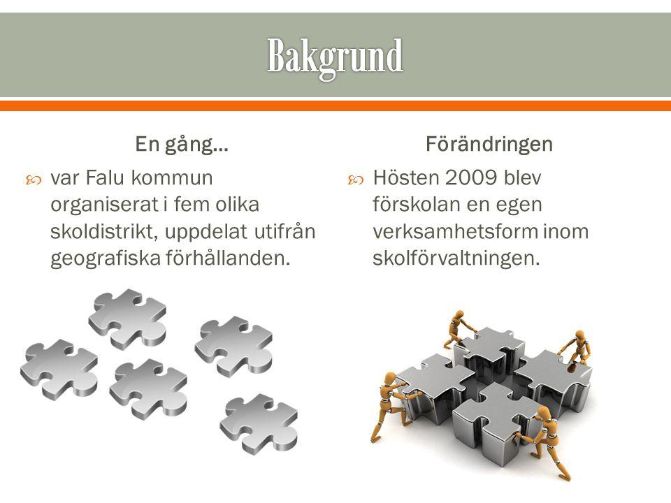 En gång…  var Falu kommun organiserat i fem olika skoldistrikt, uppdelat utifrån geografiska förhållanden. Förändringen  Hösten 2009 blev förskolan