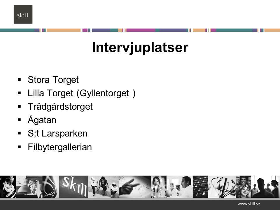 Intervjuplatser  Stora Torget  Lilla Torget (Gyllentorget )  Trädgårdstorget  Ågatan  S:t Larsparken  Filbytergallerian