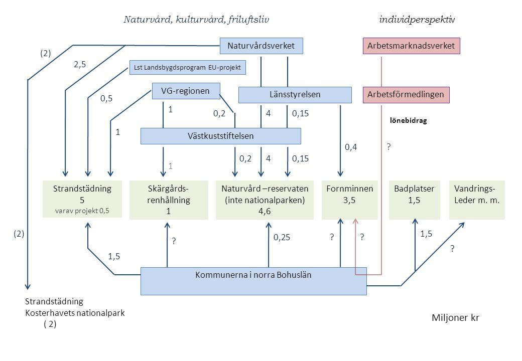 Strandstädning 5 varav projekt 0,5 Skärgårds- renhållning 1 Naturvård –reservaten (inte nationalparken) 4,6 Fornminnen 3,5 Badplatser 1,5 Naturvårdsve