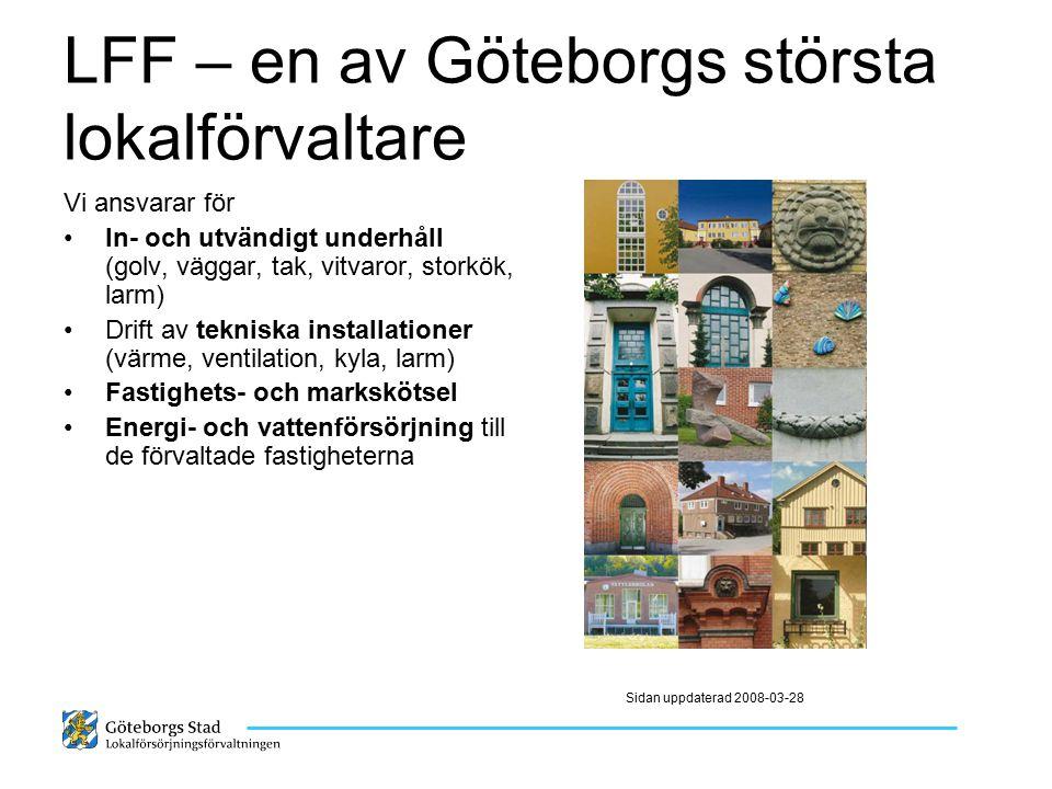 LFF – en av Göteborgs största lokalförvaltare Vi ansvarar för In- och utvändigt underhåll (golv, väggar, tak, vitvaror, storkök, larm) Drift av teknis