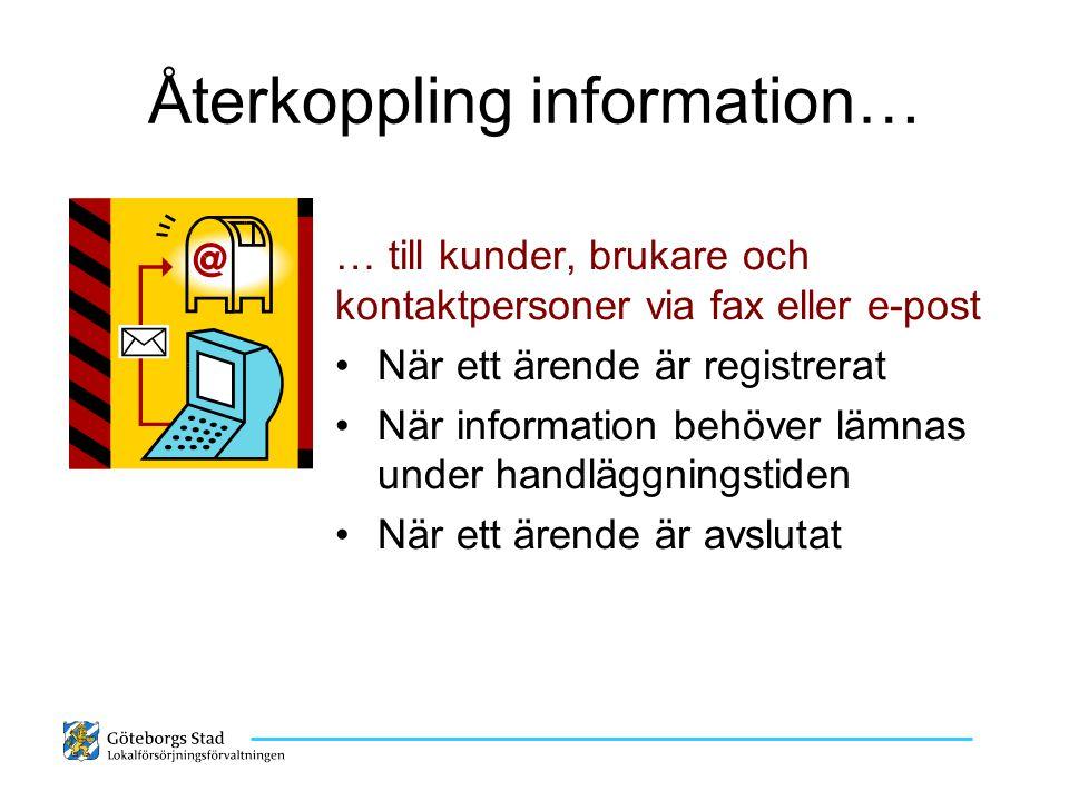 Återkoppling information… … till kunder, brukare och kontaktpersoner via fax eller e-post När ett ärende är registrerat När information behöver lämnas