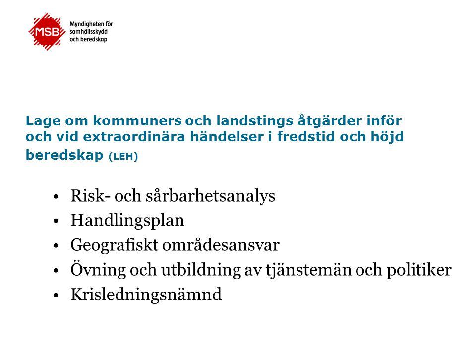 Lage om kommuners och landstings åtgärder inför och vid extraordinära händelser i fredstid och höjd beredskap (LEH) Risk- och sårbarhetsanalys Handlin