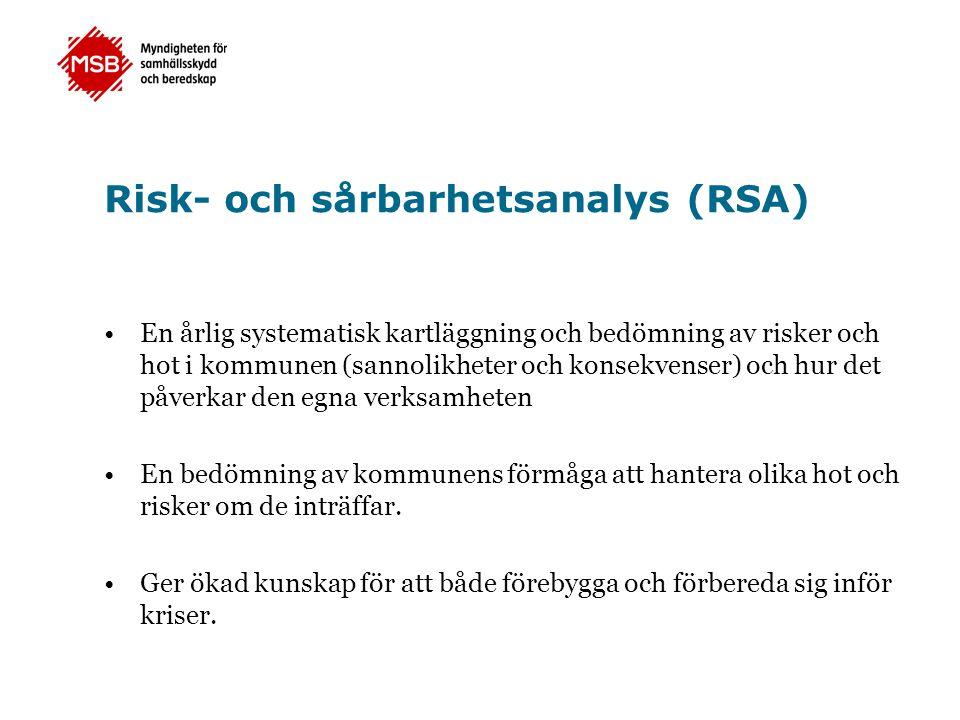 Risk- och sårbarhetsanalys (RSA) En årlig systematisk kartläggning och bedömning av risker och hot i kommunen (sannolikheter och konsekvenser) och hur det påverkar den egna verksamheten En bedömning av kommunens förmåga att hantera olika hot och risker om de inträffar.