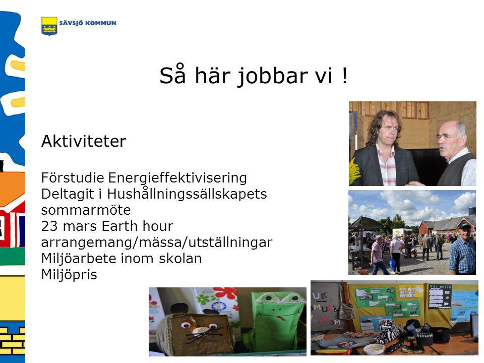 Så här jobbar vi ! Aktiviteter Förstudie Energieffektivisering Deltagit i Hushållningssällskapets sommarmöte 23 mars Earth hour arrangemang/mässa/utst