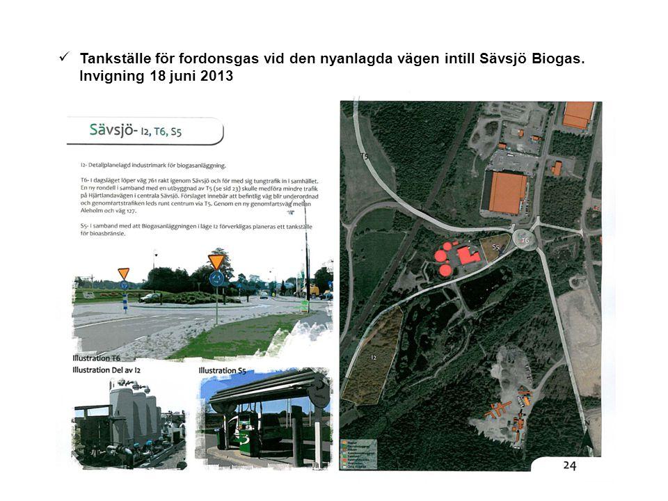 Tankställe för fordonsgas vid den nyanlagda vägen intill Sävsjö Biogas. Invigning 18 juni 2013