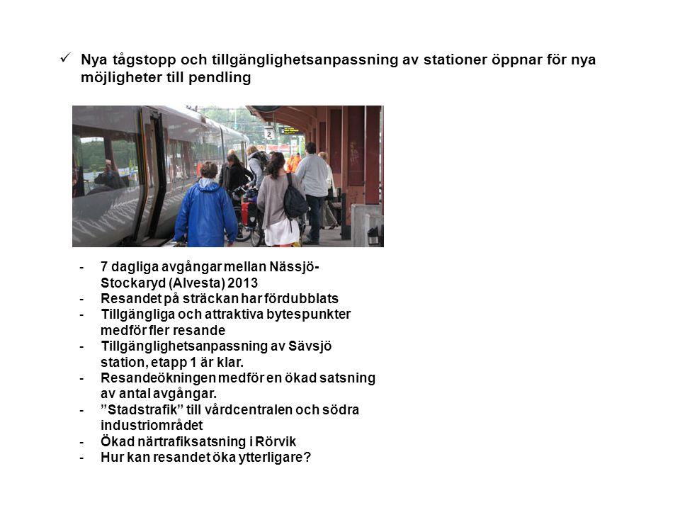 Nya tågstopp och tillgänglighetsanpassning av stationer öppnar för nya möjligheter till pendling -7 dagliga avgångar mellan Nässjö- Stockaryd (Alvesta