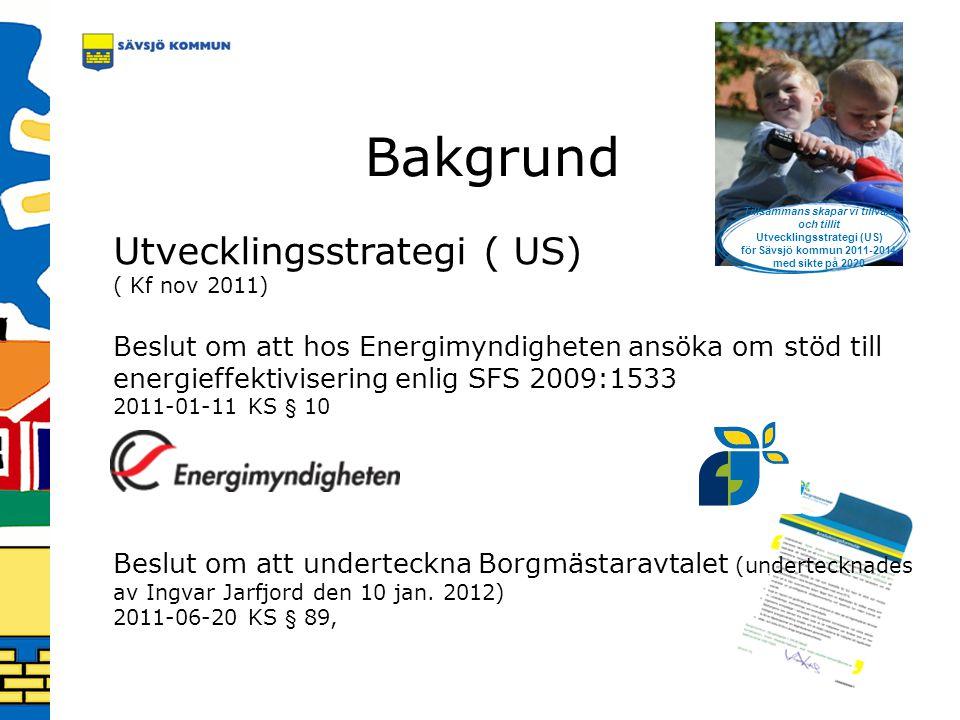Bakgrund Utvecklingsstrategi ( US) ( Kf nov 2011) Beslut om att hos Energimyndigheten ansöka om stöd till energieffektivisering enlig SFS 2009:1533 20