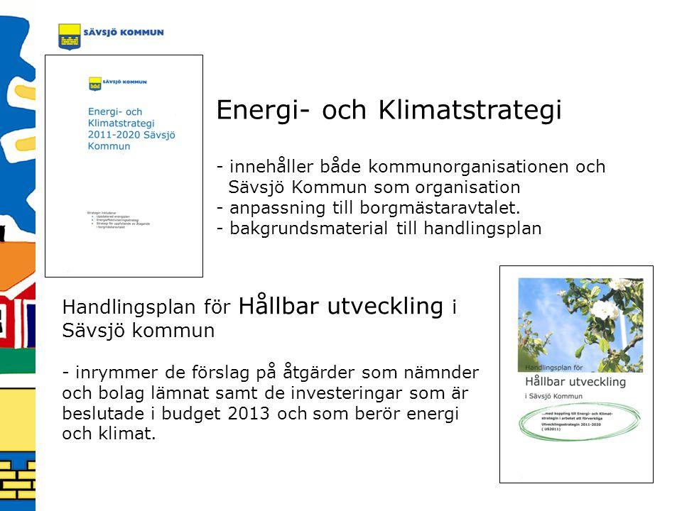 Energi- och Klimatstrategi - innehåller både kommunorganisationen och Sävsjö Kommun som organisation - anpassning till borgmästaravtalet. - bakgrundsm