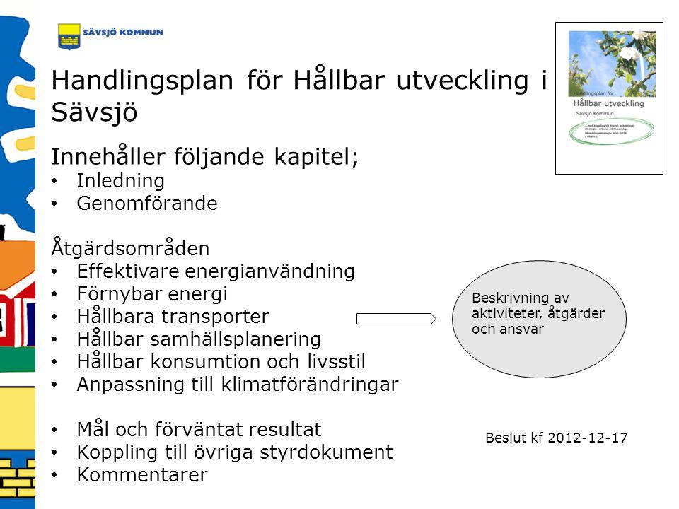 Handlingsplan för Hållbar utveckling i Sävsjö Beskrivning av aktiviteter, åtgärder och ansvar Innehåller följande kapitel; Inledning Genomförande Åtgä
